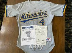 1988-92 Paul Molitor Brewers Game Used & Signed Baseball Jersey -MEARS LOA