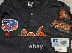 1997 Lenny Webster Baltimore Orioles game used BP #42 jersey 3 patches