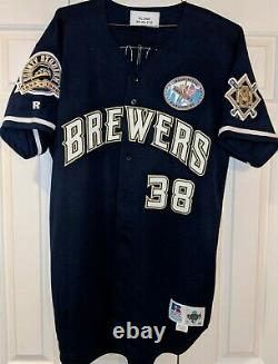 1999 Eric Plunk Mil, Brewers game used jersey -Ironworker& County Stad. Patches