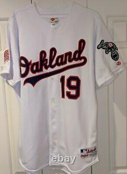 2001 Mark Guthrie Oakland A's game used July 4th red, white, and blue jersey