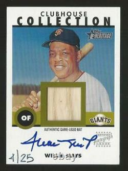 2001 Topps Heritage Willie Mays Giants Clubhouse Collection GU Bat Auto Sp 4/25