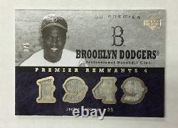 2007 Ud Premier Remnants 4 Jackie Robinson Quad Wool Game Used Jersey Card #3/5