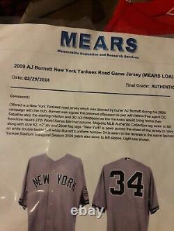 2009 NY YANKEES AJ Burnett Game Used Grey Jersey MEARS COA Opening Stadium Patch