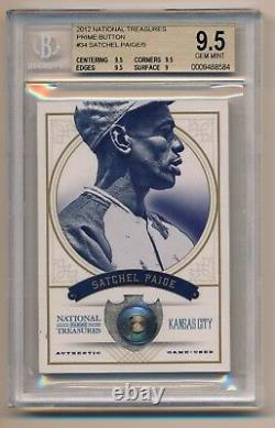 2012 National Treasures SATCHEL PAIGE Game Used Button BGS 9.5 POP 1