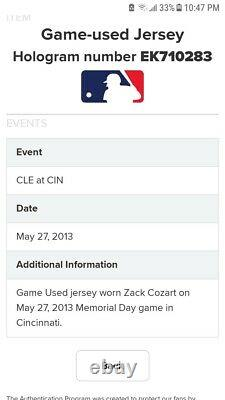 2013 Zach Cozart Cincinnati Reds Game Used Memorial Day Jersey MLB 5/27/13 v CLE