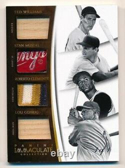 2015 Immaculate WILLIAMS MUSIAL CLEMENTE GEHRIG Game Used TAG Patch #1/1