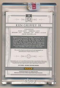 2015 National Treasures KEN GRIFFEY JR Jumbo Game Used Patch On Card Auto #2/5