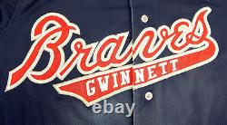 2017 Gwinnett Braves Ozzie Albies #1 Game Used Navy Jersey