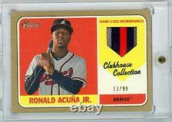 2018 Heritage Ronald Acuna Jr. Game Used 3 Color Rookie Patch 13/99 Jersey # 1/1
