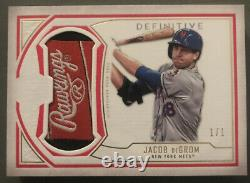 2019 Topps Definitive Jacob Degrom 1/1 Game Used Helmet Tag Mets Thick Beauty