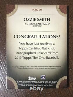 2019 Topps Tier One Ozzie Smith Bat Knob Auto 1/1 Game Used Oz Cardinals