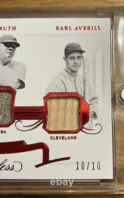 2020 Flawless LOU GEHRIG BABE RUTH EARL AVERILL 10/10 Game Used Jersey And Bat