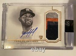 2020 Topps Dynasty Yordan Alvarez RC On Card Auto Game Used 3 Color Patch Astros