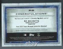 2020 Topps Museum Bo Bichette Rc Game Used Laundry Tag Mlb Authenticated 1/1