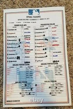 2021 MLB Baseball Game Used Lineup Card Philadelphia Phillies Toronto Blue Jays