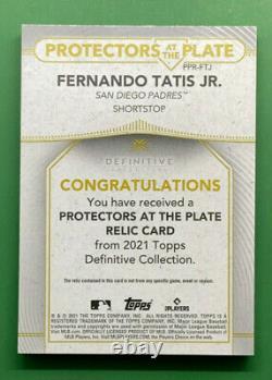 2021 Topps Definitive FERNANDO TATIS JR Game-Used Protector #PPR-FTJ 1/1
