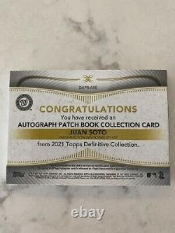 2021 Topps Definitive Juan Soto Auto 3 Color Game Used Patch Booklet #ed 2/5