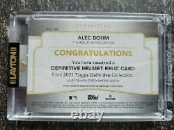 2021 Topps Definitive Rookie Helmet Relic Alec Bohm 1/1 GAME USED MLB Logoman