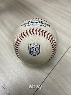9/19/2018 Angels Shohei Ohtani ROY Foul game used ball Athletics 50 Anniversary