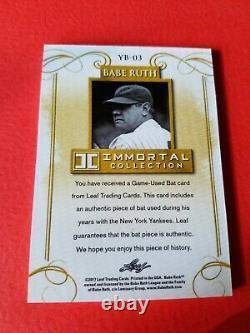 BABE RUTH GAME USED BAT CARD #d13/20 LEAF IMMORTAL #YB-03 NEW YORK YANKEES
