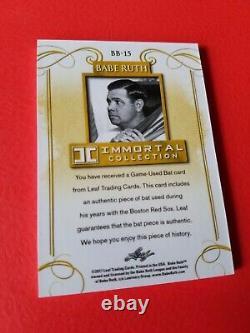 BABE RUTH GAME USED BAT CARD #d15/20 LEAF IMMORTAL #BB-15 NEW YORK YANKEES