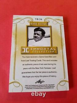 BABE RUTH GAME USED BAT CARD #d16/20 2017 LEAF Immortal Collection NY YANKEES