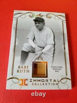 BABE RUTH GAME USED BAT CARD #d3/5 1 OF 1 LEAF IMMORTAL GOLD #BB08 YANKEES SOX