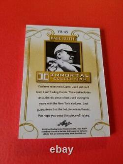 BABE RUTH GAME USED BAT CARD #d4/5 2017 LEAF IMMORTAL COLLECTION NY YANKEES