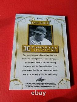 BABE RUTH GAME USED BAT CARD #d5/10 LEAF IMMORTAL #BB-23 NEW YORK YANKEES
