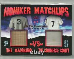 BABE RUTH & MICKEY MANTLE 2020 Leaf In The Game Used DUAL BAT & JERSEY #4/4