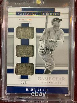 Babe Ruth 2020 National Treasures Game Materials Triple Game Used Jersey #3/5