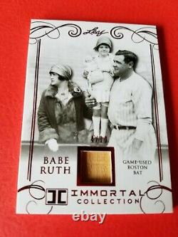Babe Ruth Game Used Bat Card #4/10 Leaf Immortal #bb-12 New York Yankees Red Sox