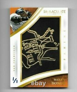 Barry Bonds 2015 Panini Immaculate Jumbo Game Used Glove Logo Patch 1/1