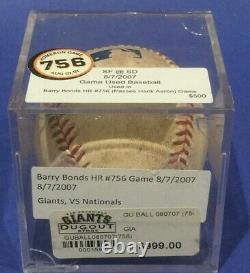 Barry Bonds Hr 756 August 8 2007 San Francisco Giants Game Used Baseball Mlb