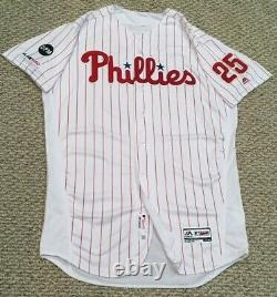 COZENS size 50 #25 2019 PHILADELPHIA PHILLIES Home White game used Jersey MLB