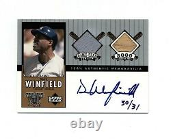 Dave Winfield 2000 UD A Piece of History 3000 Hit Club Dual Game Used Auto 30/31