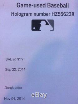 Derek Jeter Signed Auto Last Season Logo Game Used Baseball / MLB Authentication