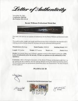 Incredible 2003 Bernie Williams Signed Game Used Baseball Bat PSA DNA GU 10