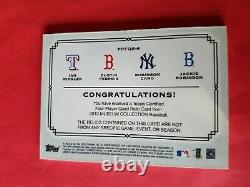 JACKIE ROBINSON DUSTIN PEDROIA ROBINSON CANO 4 GAME USED JERSEY Patch BAT CARD #