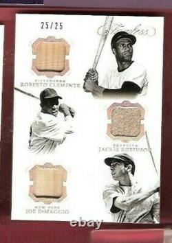 Jackie Robinson Roberto Clemente Joe Dimaggio Game Used Bat Jersey Card Flawless