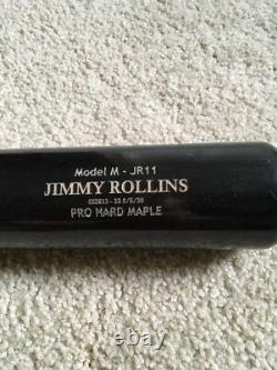 Jimmy Rollins GAME USED signed autograph cracked Axe baseball bat Phillies COA