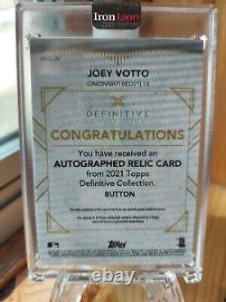 Joey Votto Topps Definitive 1/1 On-Card Auto Game-Worn Button