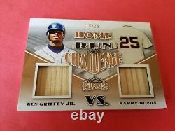 KEN GRIFFEY JR & BARRY BONDS GAME USED BAT CARD #d19/25 2020 LEAF LUMBER KINGS
