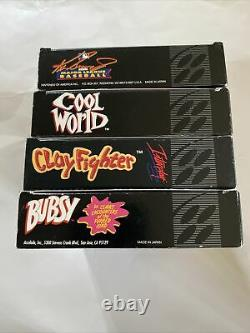 Lot Of 4 Boxed SNES Games Cool World/ Clayfighter/ Bubsy/ Baseball