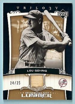 Lou Gehrig 2005 Trilogy Generations Past Lumber Game Used Bat Gold /25 Yankees