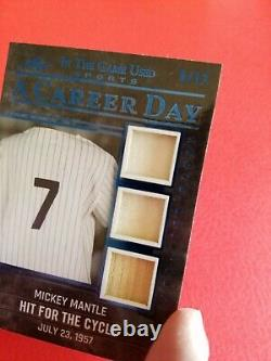 MICKEY MANTLE GAME USED JERSEY & BAT CARD #5/12 2020 LEAF ITG CAREER DAY Yankees