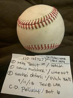MIKE TROUT WALK & OHTANI Pitch BALL ROOKIE YEAR 9/11/2018 GAME USED Ball RARE