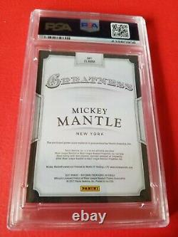 Mickey Mantle Game Used Bat Card Graded Psa Mint 9 #5/25 2017 National Treasures