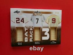 Mickey Mantle WILLIE MAYS TED WILLIAMS 3 Game Used Bat CARD #d 7/12 LEAF LUMBER