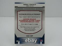 Mike Trout 2011 Topps Pro Debut Rookie Rc Game Used Jersey- Angels